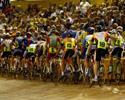 (Click for larger image) Riders in the men's A Grade scratch race  line up at the Silverdome.
