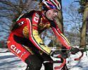 (Click for larger image) Mark McCormack rides solidly in the snow