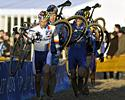 (Click for larger image) Sven Nys (Rabobank) leads the pack through the sand