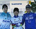 (Click for larger image) The podium (L to R): Erwin Vervecken (2nd), Sven Nys (1st), and Gerben de Knegt (3rd)