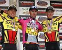 (Click for larger image) A familiar sight in 2003  - gracing the podium at the Sea Otter Classic with Tom Danielson (L) and Chris Horner (R).