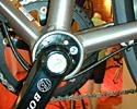 (Click for larger image) Trek Soho's eccentric bottom bracket provides chain tension adjustment on a bike with vertical dropouts.