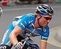 (Click for larger image) Matt white Of Team Discovery Channel grimaces as he drives the Breakaway - Open Men's Criterium