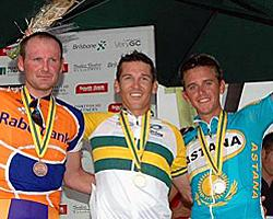 (Click for larger image) The Open Men's podium Graeme Brown, Robbie McEwen and Allan Davis