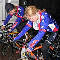 (Click for larger image) Barb (l) and Ann Knapp warm up before the women's race
