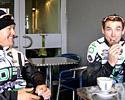 (Click for larger image) Bern Sulzberger and Leigh Palmer hang out at the coffee shop after a ride