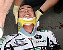 (Click for larger image) In a neck brace  after the big fall in Beauce.