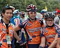 (Click for larger image) Alan Ho, David Sommerville and Jared Bunde before the start of stage 2.