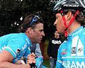 (Click for larger image) Alessandro Petacchi is congratulated by team-mate Alberto Ongarato