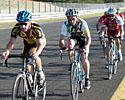 (Click for larger image) D Grade winner Nick Robinson leads the D Grade bunch early in the race
