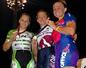(Click for larger image) Women's scratch race podium (l-r): Courtney Le Lay, Chloe Macpherson and Alexandra Bright