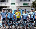 (Click for larger image) The Marco Polo Cycling Team with the yellow jersey in the Tour of Siam 2006. From left to right: Fuyu Li (China), Jamsran Ulzii-Orshikh (Mongolia), Thomas Rabou in yellow (Netherlands), Robin Reid (New Zealand) and Rhys Pollock (Australia).