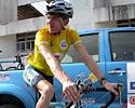 (Click for larger image) Thomas Rabou (Marco Polo Cycling Team) in the yellow jersey in the Tour of Siam 2006.