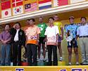 (Click for larger image) The podium after stage 5 in the Tour of Siam 2006.