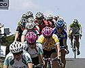 (Click for larger image) Riders in the women's race head down the home  straight in Portarlington