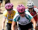 (Click for larger image) Alexis Rhodes and Kate Bates stand out in their magenta helmets