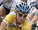 (Click for larger image) Belinda Goss (Volvo)  in her series leader's yellow jersey in the thick of it at Geelong