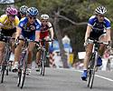 (Click for larger image) The cream of the crop (L-R): Kate Bates, Belinda Goss, and Sara Carrigan on the front of the peloton.