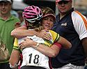 (Click for larger image) A job well done�Alexis Rhodes is congratulated  after her strong ride to win stage four of the women's series.