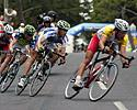 (Click for larger image) The leaders (L-R): McPartland, Walker, England and Windsor, lean into a bend with a healty gap to the peloton.