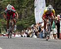 (Click for larger image) Dean Windsor (right) of the Drapac Porsche team sprints clear of Portfolio Partner's David McPartland to win stage four .