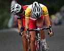 (Click for larger image) Windsor and McPartland (both Drapac Porsche)  concentrate on different things in the closing laps