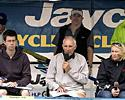 (Click for larger image) Commentators and journalists on the podium  at the Docklands in Melbourne for the final stage of the 2007 Jayco Bay Cycling Classic Series