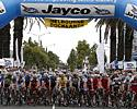 (Click for larger image) The men's field on the startline at Melbourne Docklands awaits the start to the final stage.