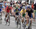 (Click for larger image) The yellow jersey of the series leader, Mark Renshaw (Skilled) tucked away in the peloton in the home straight