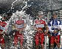 (Click for larger image) And pop they did�a champagne shower to finish the presentations  of the 2007 Jayco Bay Cycling Classic Series.